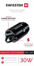 SWISSTEN CL ADAPTÉR POWER DELIVERY USB-C + SUPER CHARGE 3.0 30W NANO ČERNÝ