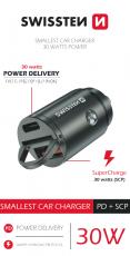 SWISSTEN CL ADAPTÉR POWER DELIVERY USB-C + SUPER CHARGE 3.0 30W NANO STŘÍBRNÝ