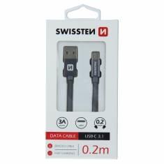 DATOVÝ KABEL SWISSTEN TEXTILE USB / USB-C 0,2 M ŠEDÝ
