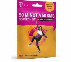 PŘEDPLACENÁ T-MOBILE TWIST SIM KARTA - kredit 100,- Kč - ZDARMA 50 MINUT, 50 SMS A 100  MB DAT